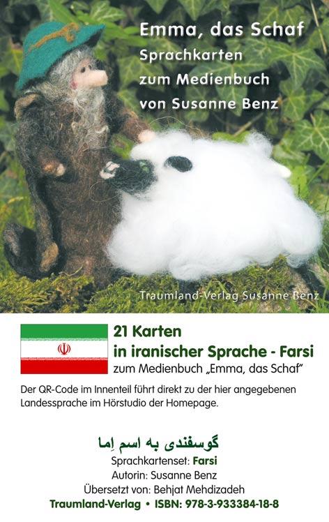 Sprachkartenhülle mit Emma, dem Schaf, dem Schäfer in Farsi