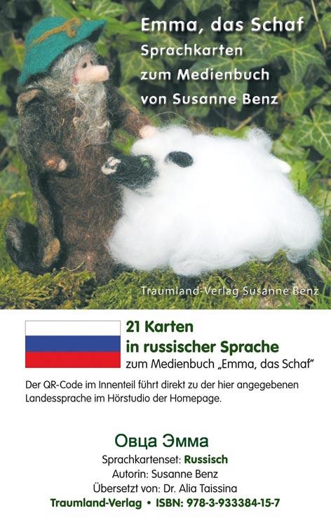 Sprachkartenhülle mit Emma, dem Schaf, dem Schäfer in Russisch