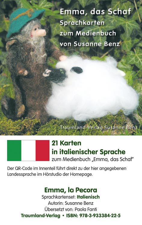 Sprachkartenhülle mit Emma, dem Schaf, dem Schäfer in Italienisch